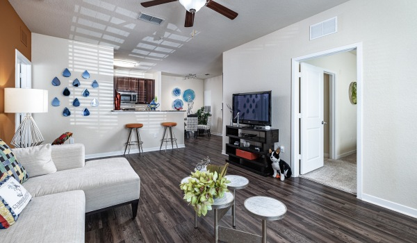 Living Room in model home at Cumberland Park Apartments in Orlando, Florida