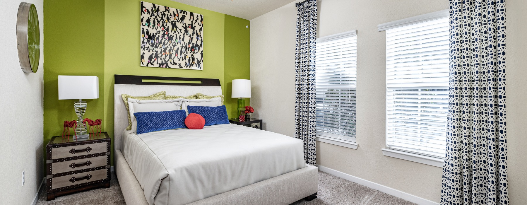Bedroom in model home at Cumberland Park Apartments in Orlando, Florida